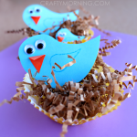 Blue Bird Craft with Cupcake Liner Nests