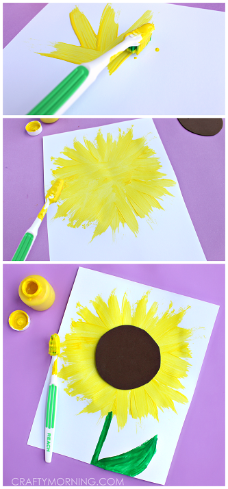 cute-toothbrush-print-sunflower-craft-for-kids
