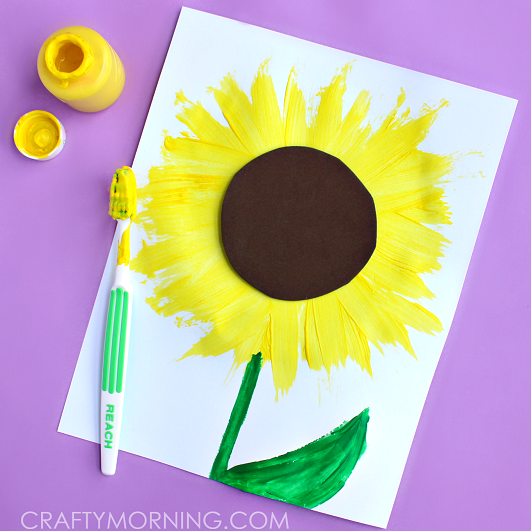 make-a-sunflower-craft-using-toothbrush-for-kids