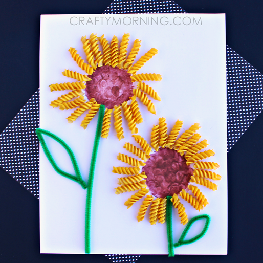 noodle-sunflower-craft-for-kids
