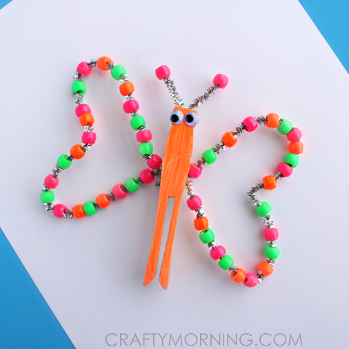 pipe-cleaner-bead-butterfly-spring-kids-craft-