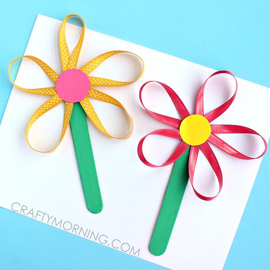 ribbon-flower-stick-spring-craft-for-kids
