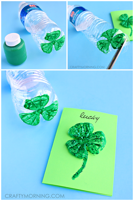 st-patricks-day-water-bottle-clover-card-craft