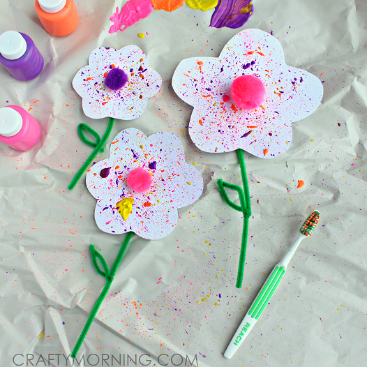 Splatter Flower Craft using a Toothbrush - Crafty Morning