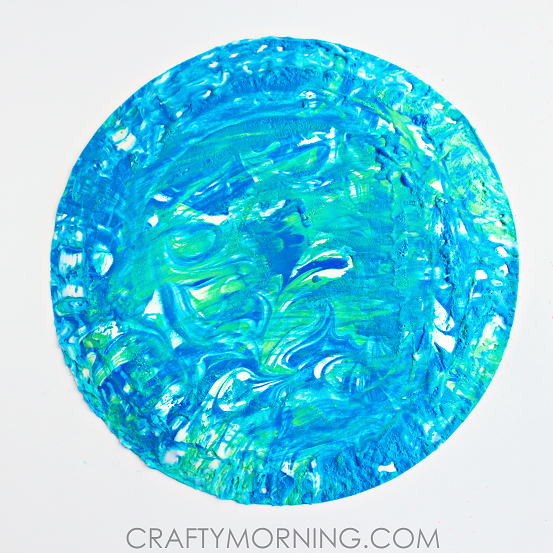 Shaving Cream Marbled Earth Day Kids Craft
