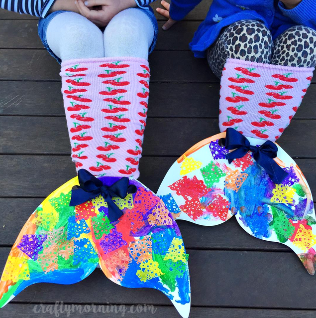 cardboard-mermaid-sock-tails-kids-craft