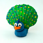 Seashell Peacock Craft for Kids using Playdough