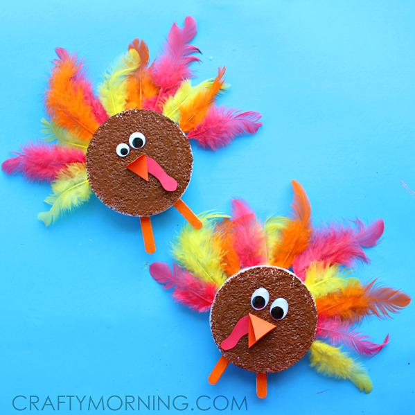 foam-disc-turkey-thanksgiving-craft-for-kids