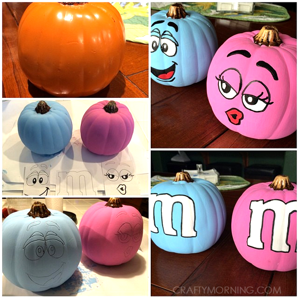 no-carve-painte-m&m-pumpkins