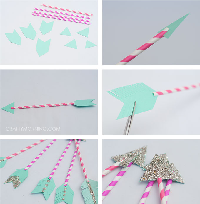 Paper Straw Cupid Arrows (Kids Valentine Craft)