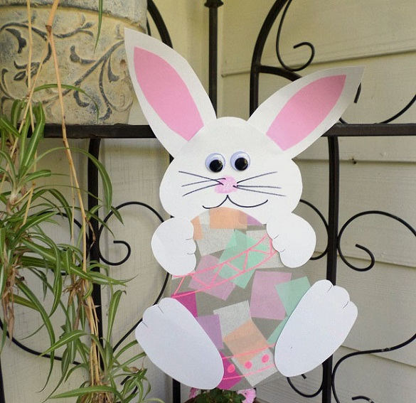 Bunny Holding an Easter Egg Suncatcher - Crafty Morning