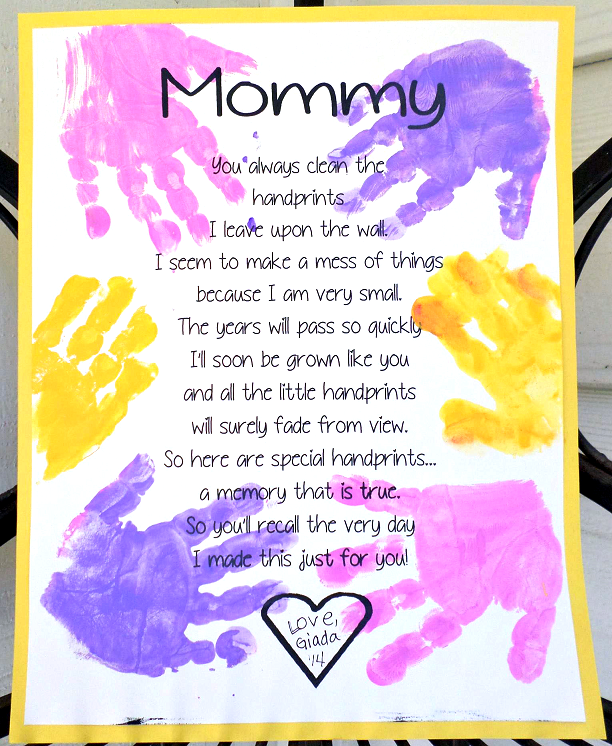 Printable Handprint Mothers Day Poem Crafty Morning