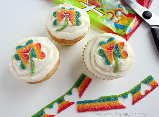 rainbow-candy-shamrock-cupcakes
