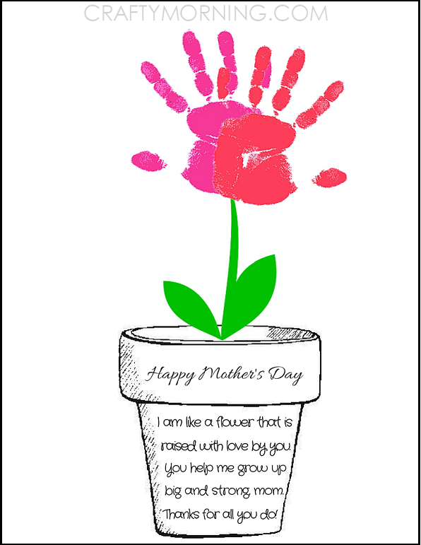Printable Poem Flower Pot for Mother's Day