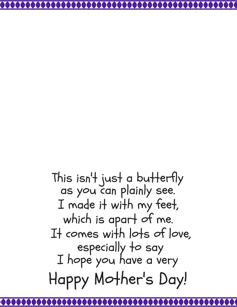 Butterfly Footprint Printable Poem for mothers day