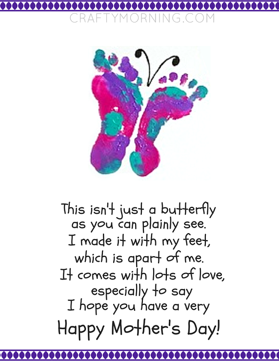 Printable Footprint Butterfly Mother's Day Poem