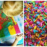 How to Dye Rice for Sensory Bins