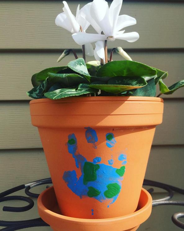 Earth Day Handprint Flower Pot Craft