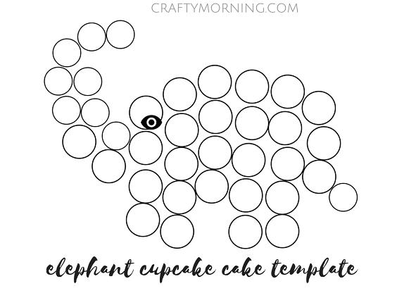 elepahnt cupcake cake template (2)