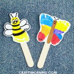 Footprint Bumble Bee & Butterfly Puppets