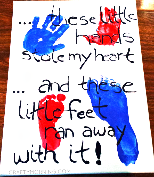 """These Little Hands Stole my Heart…"" Handprint/Footprint Canvas"