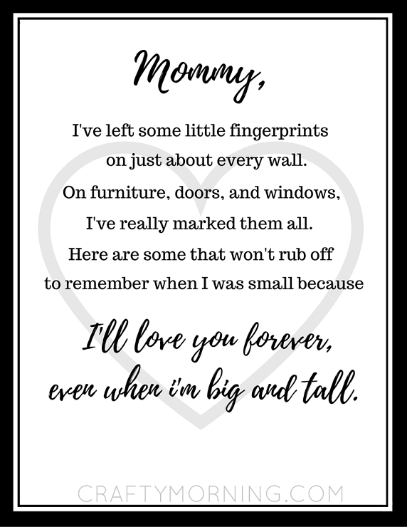 Free Mothers Day Fingerprint Poem Printable Crafty Morning
