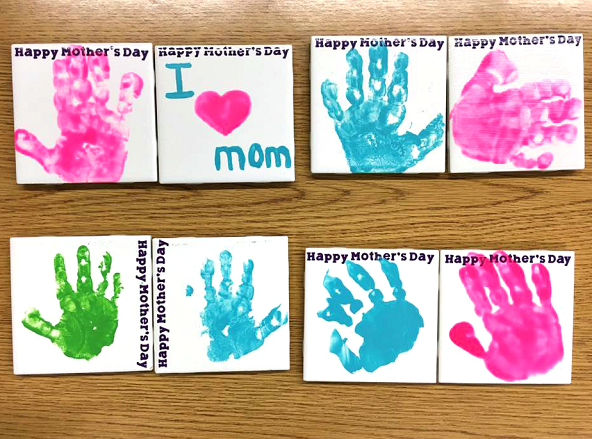 Handprint Tile Coasters for Mother's Day - Crafty Morning
