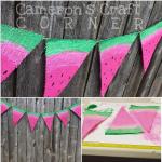 Burlap Watermelon Bunting Banner