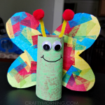 Cardboard Tube Butterfly Kids Craft