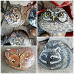 Painted Rocks: Cats, Owl, Raccoon, and Deer