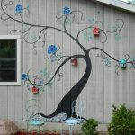 Painted Tree Bird House Mural