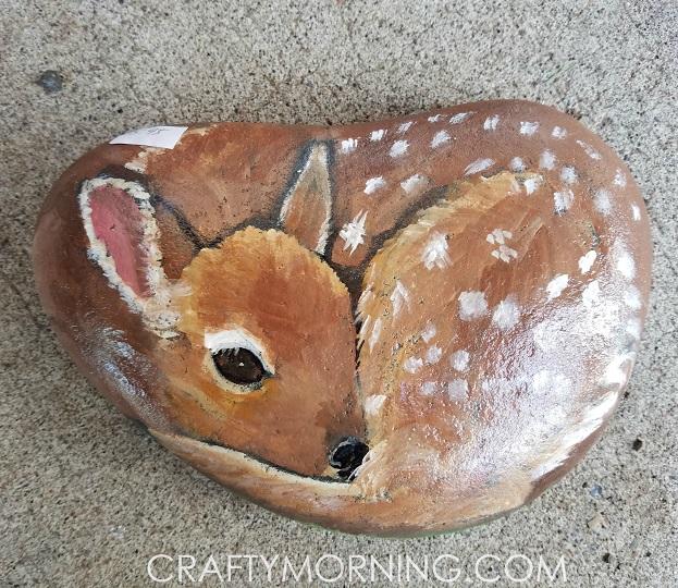 rock-painted-like-a-deer-craft