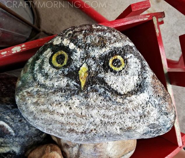 rock-painted-like-owl-craft