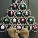 Mason Jar Lid Christmas Tree Door Hanger