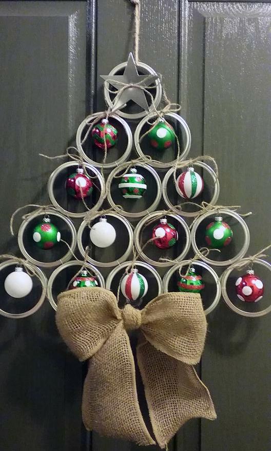 Mason Jar Lid Christmas Tree Door