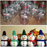 Empty Pomegranate Bottle Snowmen