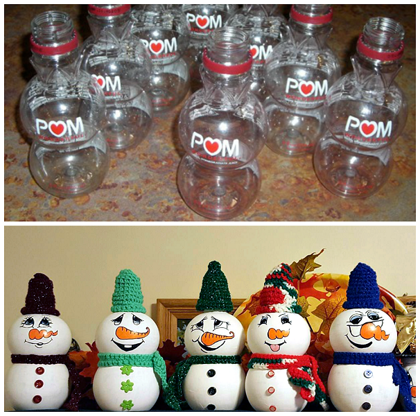 pomegranate-bottle-snowmen-craft