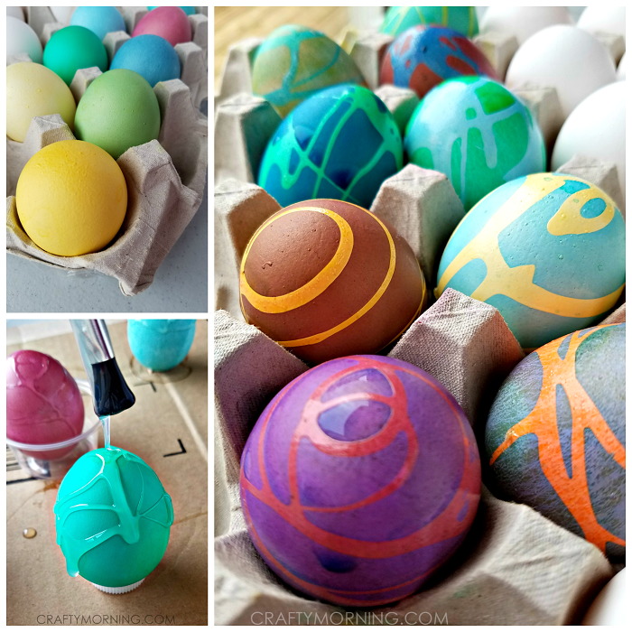 Swirly Rubber Cement Easter Eggs
