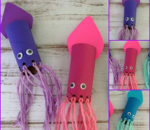 Toilet Paper Roll Squid Craft for Kids