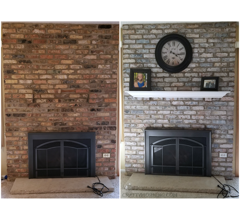 How To White Wash Brick Fireplace Makeover Crafty Morning