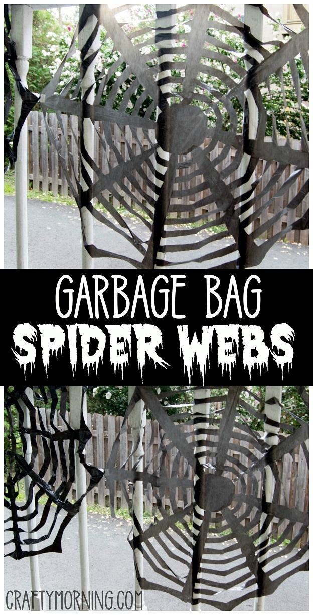 Black Garbage Bag Halloween Decorations.Trash Bag Spider Web Decorations Crafty Morning