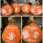 Handprint Wood Slice Pumpkins