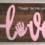 Arrow Love Handprint Wood Sign