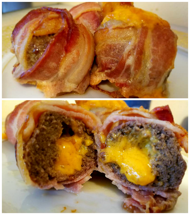 Bacon Wrapped Cheddar Stuffed Meatballs