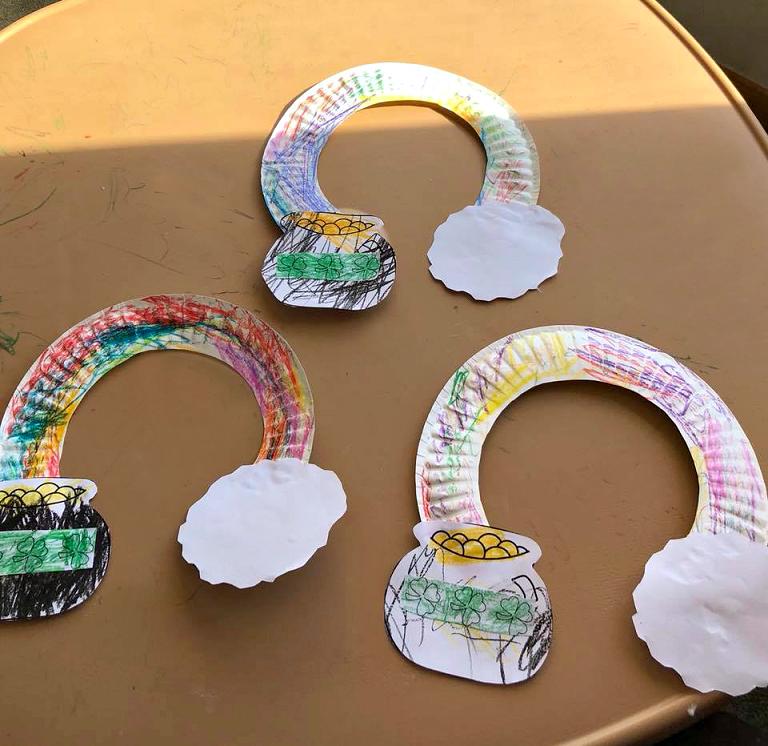 Paper Plate Rainbow Pot O' Gold Craft