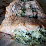 Spinach Artichoke Stuffed Salmon