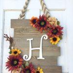 Wood Sunflower Door Hanger