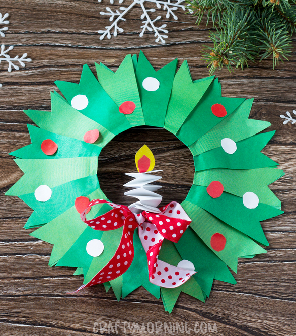 Paper Plate Christmas Wreath Craft Crafty Morning
