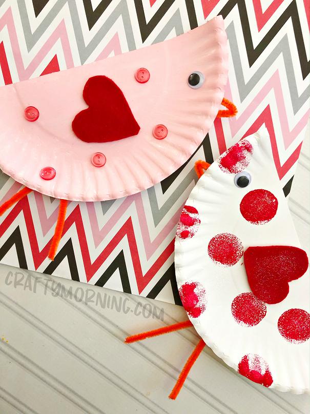 Paper Plate Valentine Love Birds