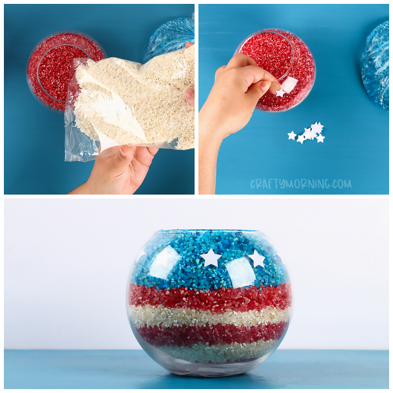 American Flag Rice Centerpiece